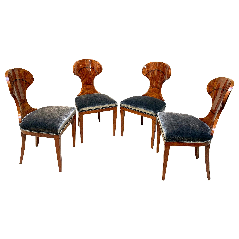 Set of 4 Biedermeier Ballon Chairs, Ash Veneer, Grey Velvet, Vienna, circa 1900