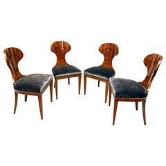 Set of 4 Biedermeier Ballon Chairs, Ash Veneer, Grey Velvet, Vienna, circa 1900