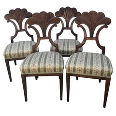Set of Four Biedermeier Chairs, walnut, 1900