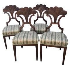 Set of Four Biedermeier Chairs, walnut, 1900