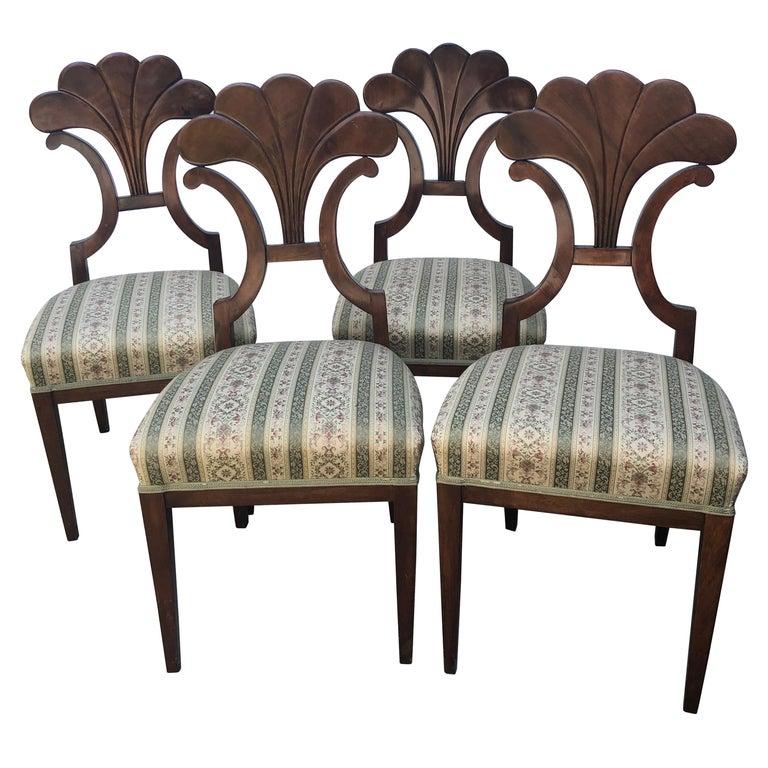 Set of Four Biedermeier Chairs, walnut, 1900 For Sale