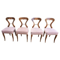 Set of 4 Biedermeier Figured Walnut Upholstered Side Chairs