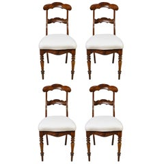 Set of 4 Biedermeier Mahogany Dining Chairs with Upholstered Seat, circa 1830