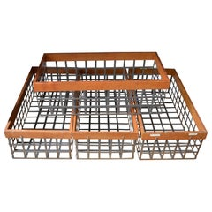 Set of 4 Bins Baskets of Steel and Wood, Several Vintage Sets Available