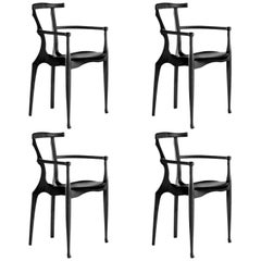 Set of 4 Black Gaulino Chair Oscar Tusquets