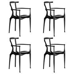 Set of 4 Black Gaulino Chair Oscar Tusquets