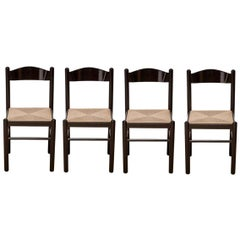 Magistretti Style Black Lacquer Dining Chairs with Rush Seats