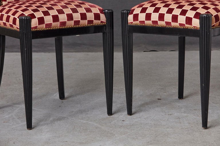 Set of 4 Black Lacquered Side Chairs by Sally Sirkin Lewis for J. Robert Scott For Sale 7
