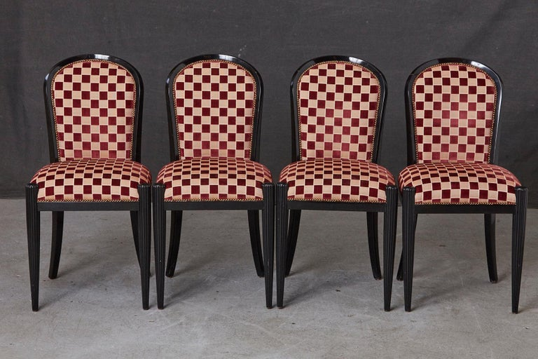 American Set of 4 Black Lacquered Side Chairs by Sally Sirkin Lewis for J. Robert Scott For Sale