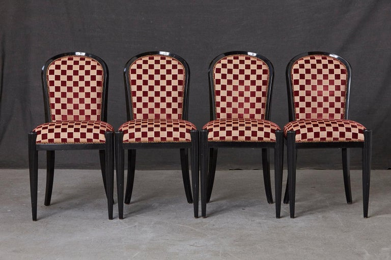 Set of 4 Black Lacquered Side Chairs by Sally Sirkin Lewis for J. Robert Scott In Good Condition For Sale In Weston, CT