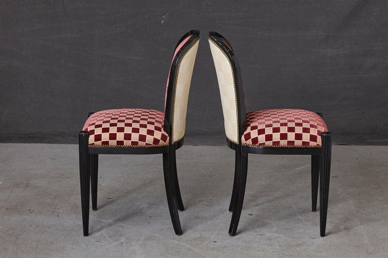 Late 20th Century Set of 4 Black Lacquered Side Chairs by Sally Sirkin Lewis for J. Robert Scott For Sale