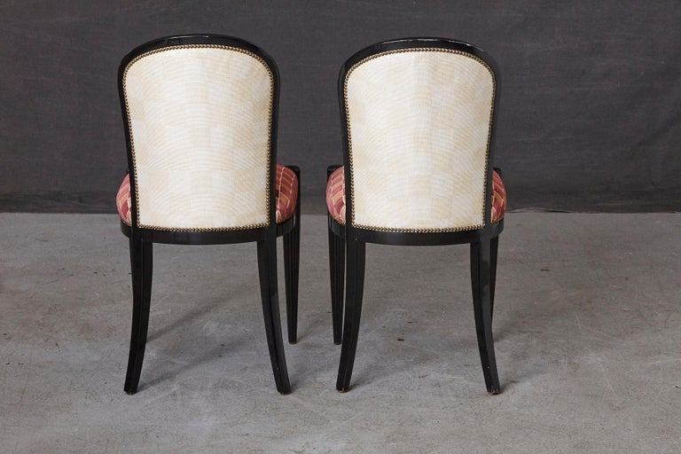 Brass Set of 4 Black Lacquered Side Chairs by Sally Sirkin Lewis for J. Robert Scott For Sale