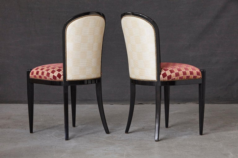 Set of 4 Black Lacquered Side Chairs by Sally Sirkin Lewis for J. Robert Scott For Sale 1
