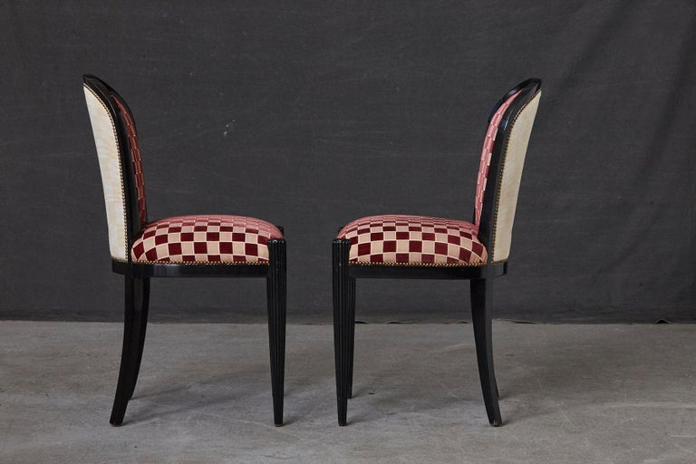 Set of 4 Black Lacquered Side Chairs by Sally Sirkin Lewis for J. Robert Scott For Sale 2