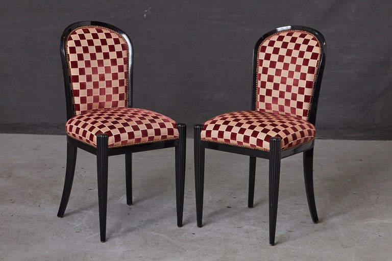 Set of 4 Black Lacquered Side Chairs by Sally Sirkin Lewis for J. Robert Scott For Sale 3