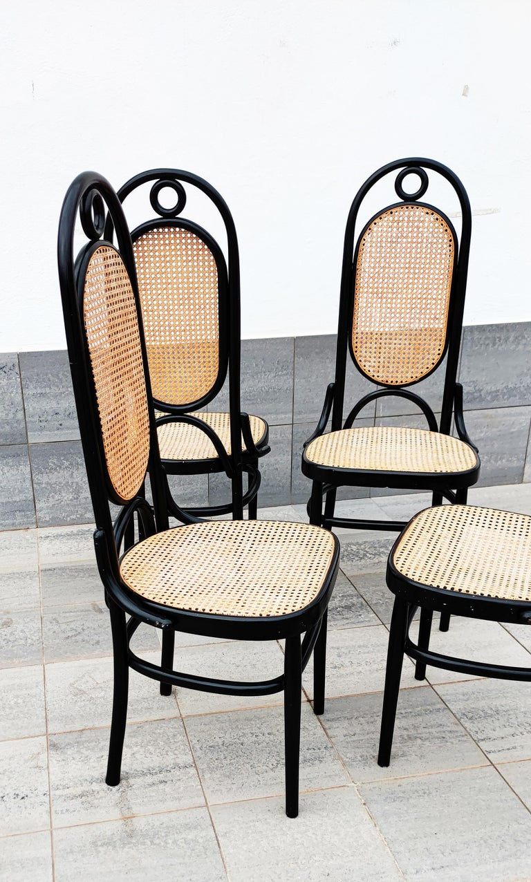 Rare set of 4 black lacquered Thonet N 17 high back dining chairs, manufactured in France in 1960s. In good vintage condition.