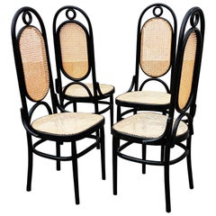 Set of 4 Black Lacquered Thonet N 17 High Back Dining Chairs