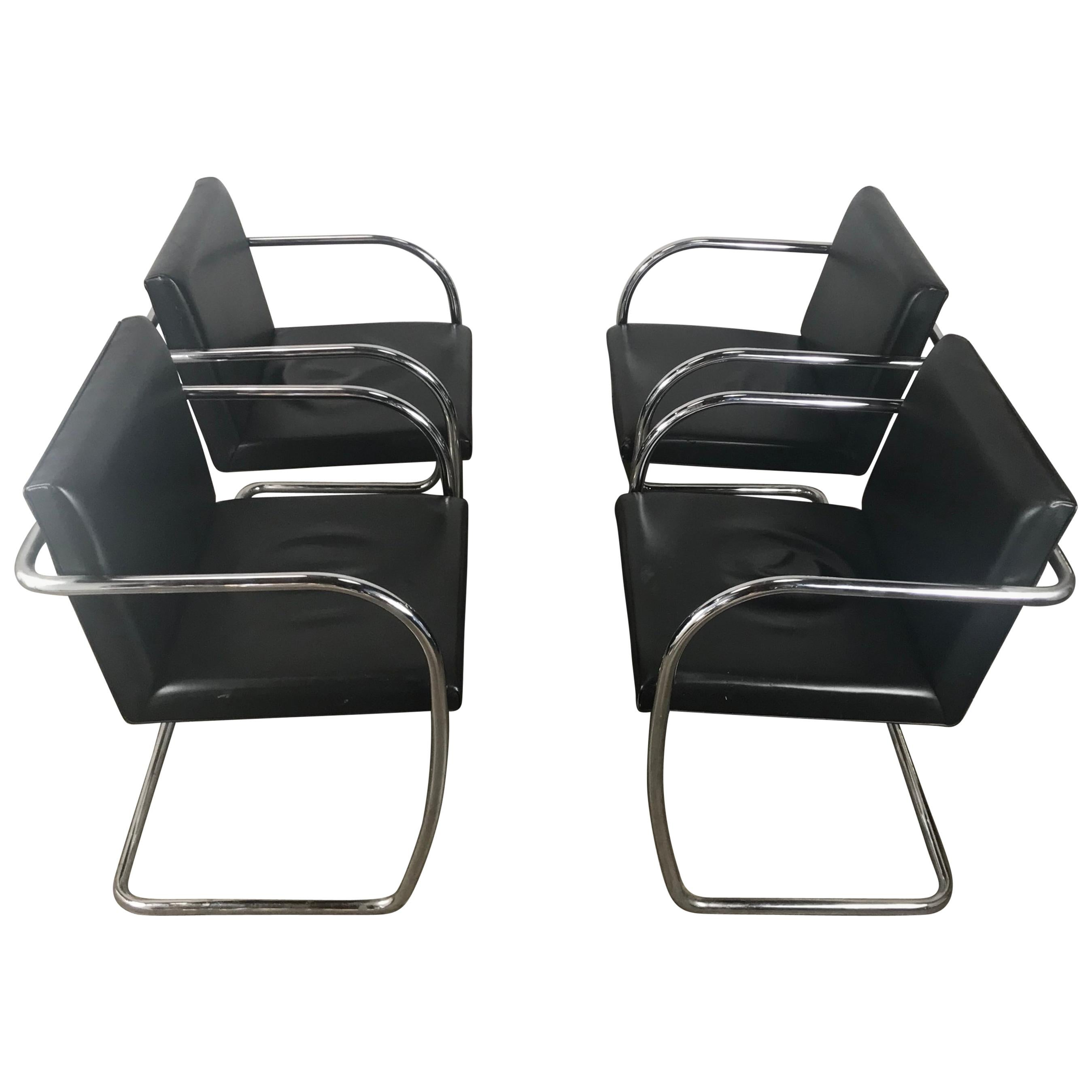 """Set of 4 Black Leather and Chrome """"Brno"""" Armchairs"""