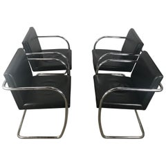 "Set of 4 Black Leather and Chrome ""Brno"" Armchairs"