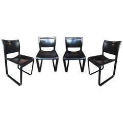 "Set of 4 Black Leather ""Sistina"" Chairs by Tito Agnoli for Matteo Grassi"