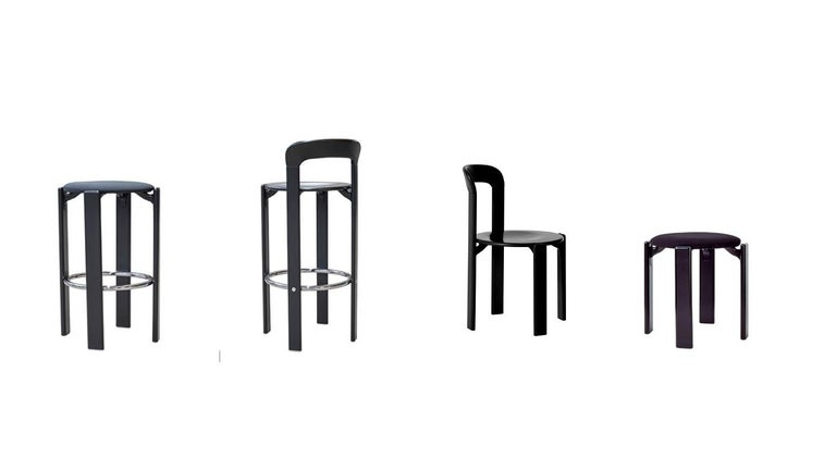 Contemporary Set of 4 Black Rey Chairs by Dietiker, a Swiss Icon since 1971 For Sale