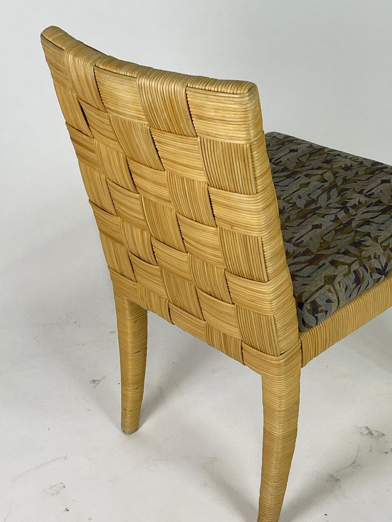 Set of 4 Block Island Wicker Dining Chairs by John Hutton for Donghia In Good Condition For Sale In Hudson, NY