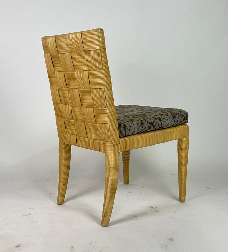 Late 20th Century Set of 4 Block Island Wicker Dining Chairs by John Hutton for Donghia For Sale