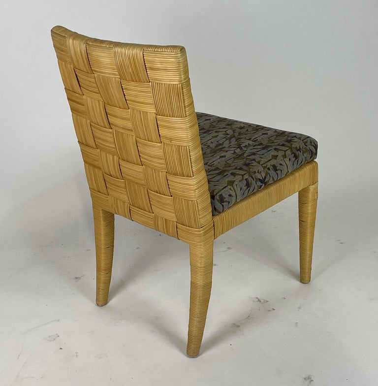 Upholstery Set of 4 Block Island Wicker Dining Chairs by John Hutton for Donghia For Sale