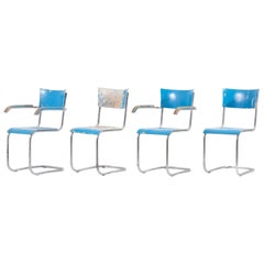 Set of 4 Blue Cantilever Chairs B43 by Mart Stam for Thonet, Germany, 1930s
