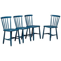Set of 4 Blue Painted Dining Chairs Kitchen Chair Wood