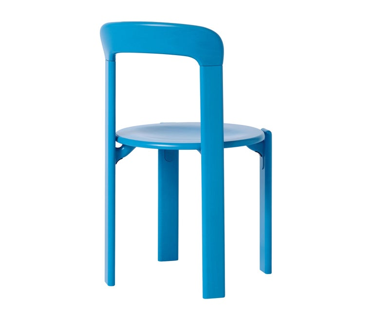 Mid-Century Modern Set of 4 Blue Rey Chairs by Dietiker, a Swiss Icon since 1971 For Sale