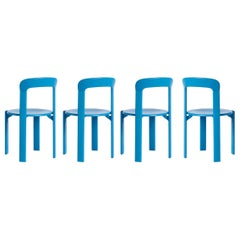 Set of 4 Blue Rey Chairs by Dietiker, a Swiss Icon since 1971