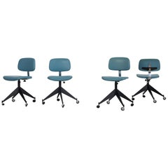 Set of 4 Blue Velca Legnano Midcentury Office Chairs