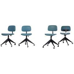 Set of 4 Blue Velca Legnano Midcentury Office Chairs