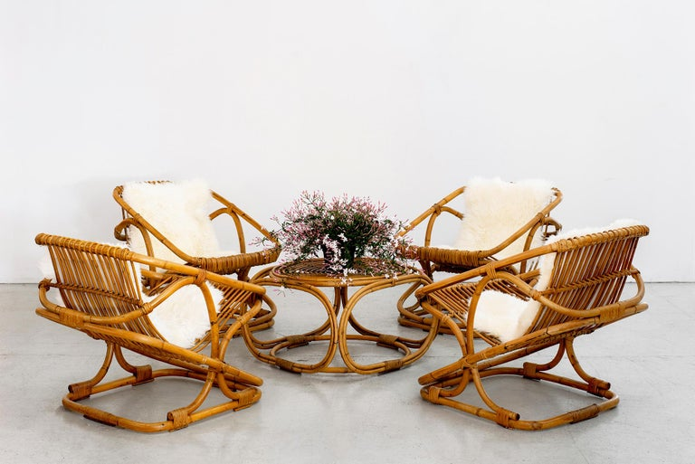 Mid-Century Modern Set of 4 Italian Bamboo Chairs and Table For Sale
