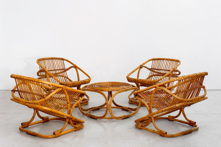20th Century Set of 4 Italian Bamboo Chairs and Table For Sale