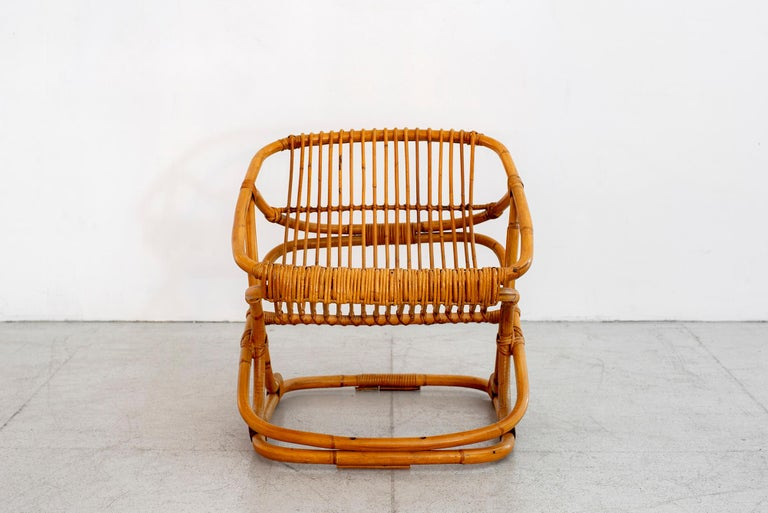Rattan Set of 4 Italian Bamboo Chairs and Table For Sale