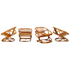 Set of 4 Italian Bamboo Chairs and Table