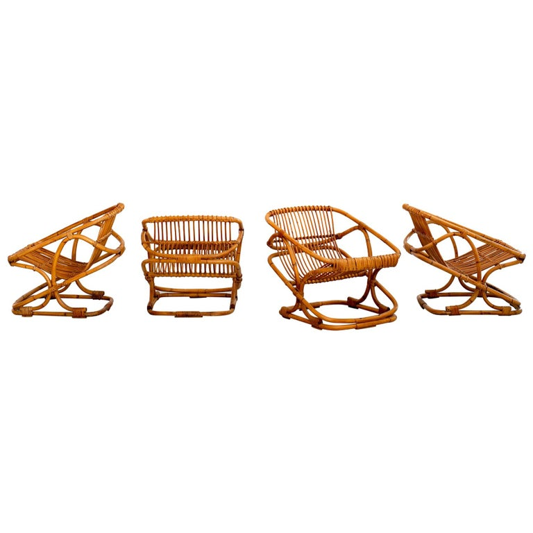 Set of 4 Italian Bamboo Chairs and Table For Sale