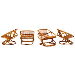 Set of 4 Bonacina Square Rattan Chairs and Table