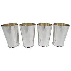 Set of 4 Brand Chatillon New York Art Deco Sterling Silver Highballs