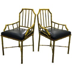 Set of 4 Brass Bamboo Armchairs or Dining Chairs