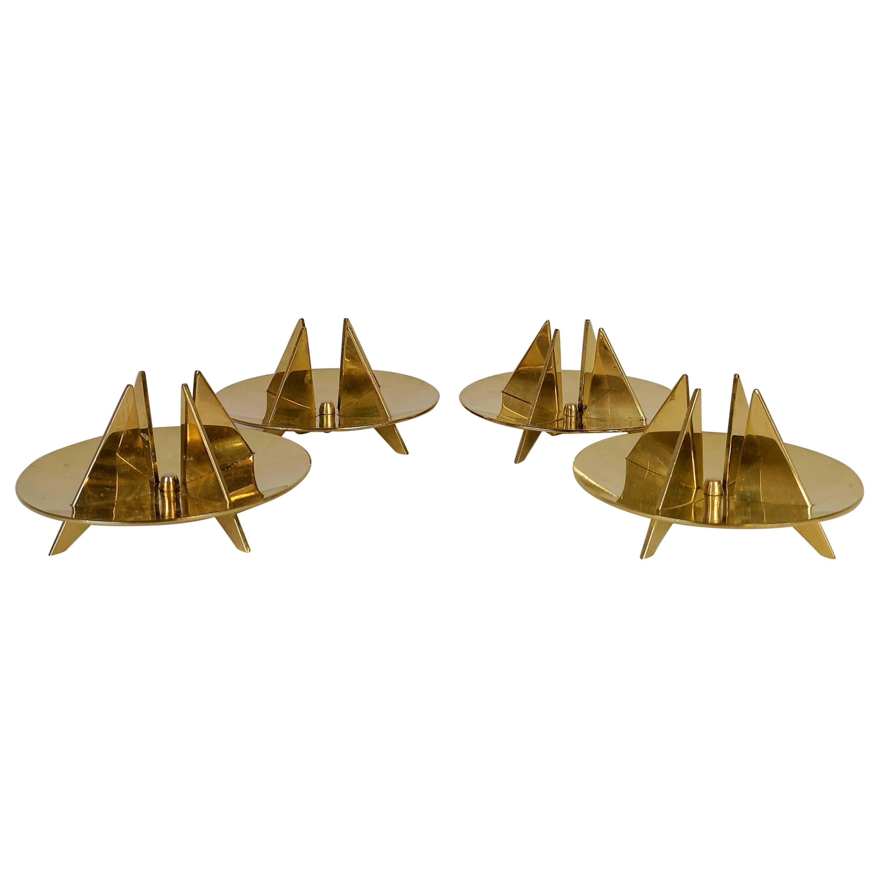 Set of 4 Brass Candleholders by Pierre Forsell for Skultuna, Sweden, 1960s