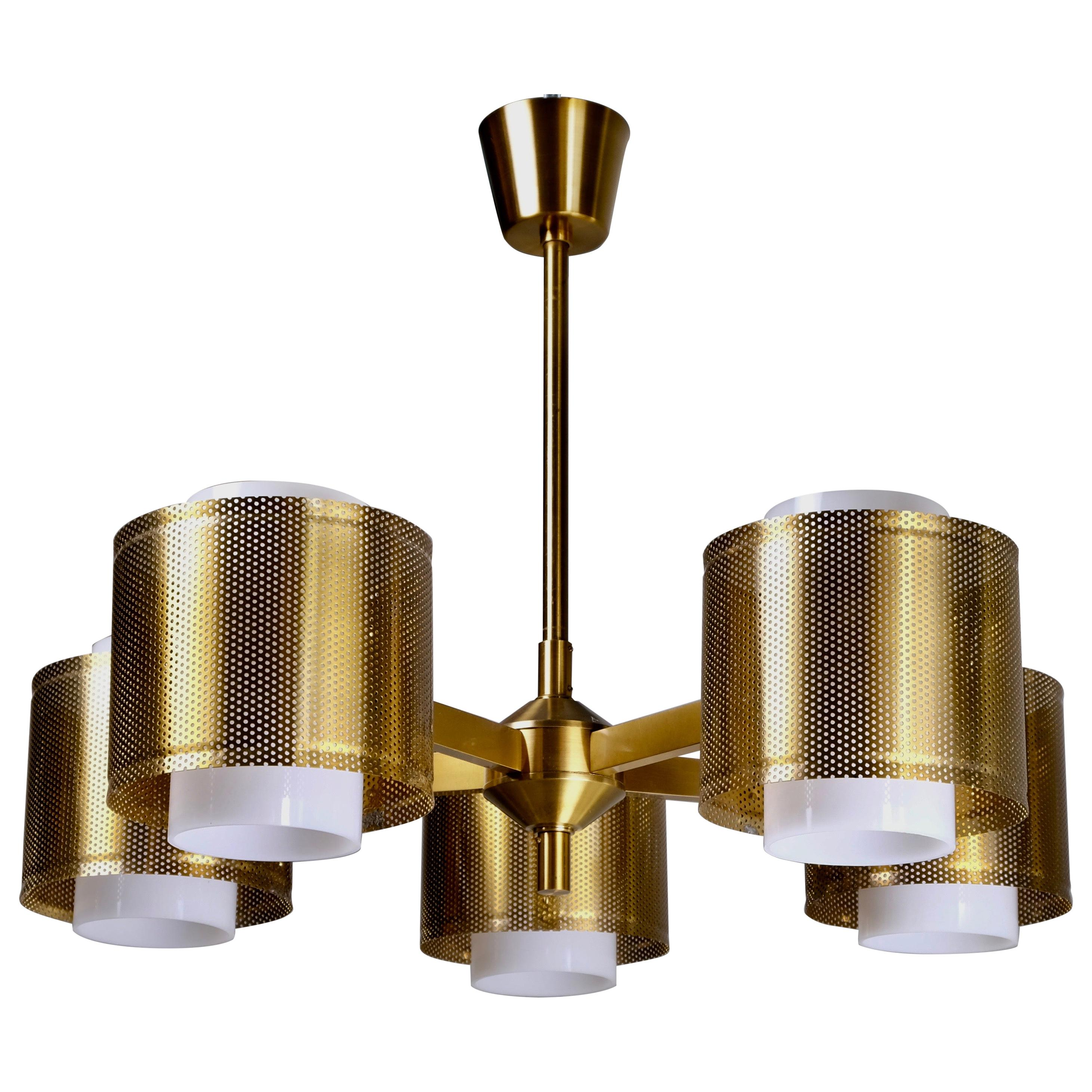 Set of 3 Brass Ceiling Lamps by Holger Johansson, Sweden, 1960s