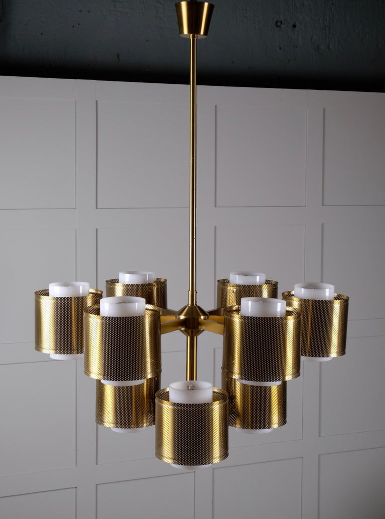 Set of 4 Brass Chandeliers by Holger Johansson, Sweden, 1960s For Sale 4