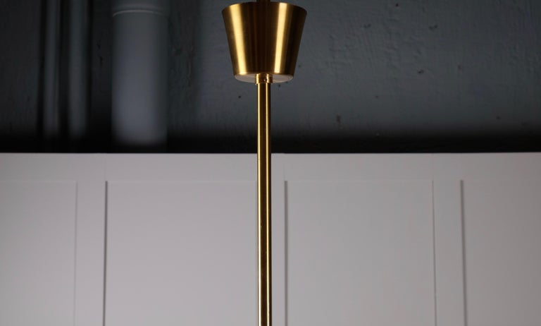Set of 4 Brass Chandeliers by Holger Johansson, Sweden, 1960s For Sale 7