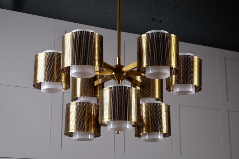 Set of 4 Brass Chandeliers by Holger Johansson, Sweden, 1960s For Sale 8