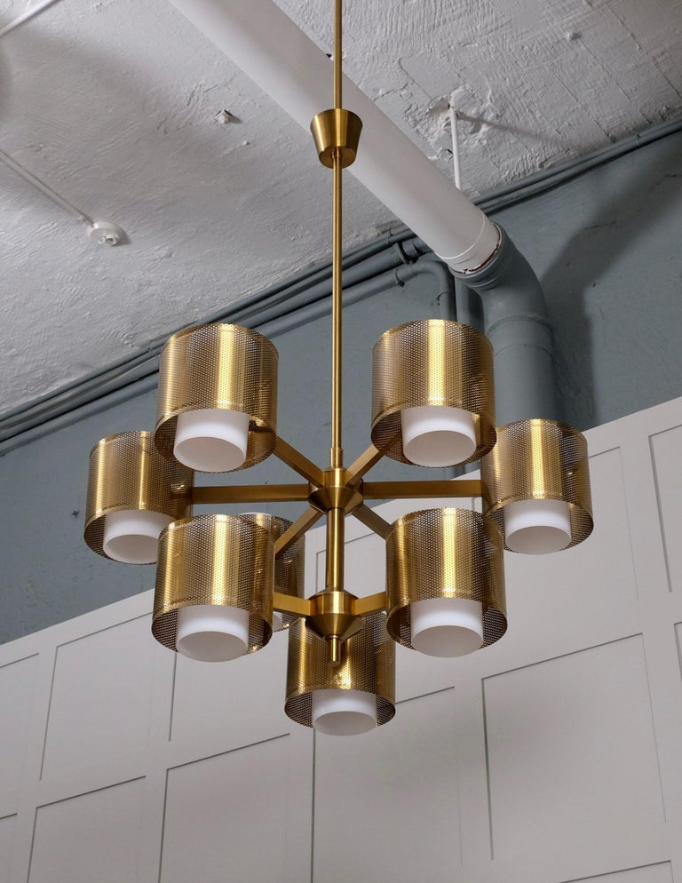 Swedish Set of 4 Brass Chandeliers by Holger Johansson, Sweden, 1960s For Sale