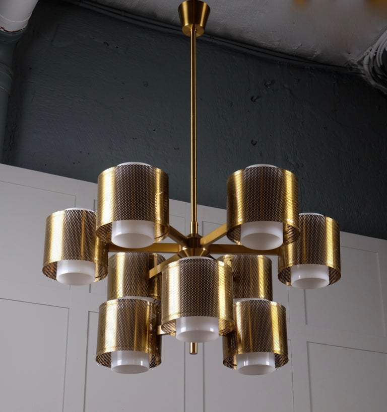 Mid-20th Century Set of 4 Brass Chandeliers by Holger Johansson, Sweden, 1960s For Sale