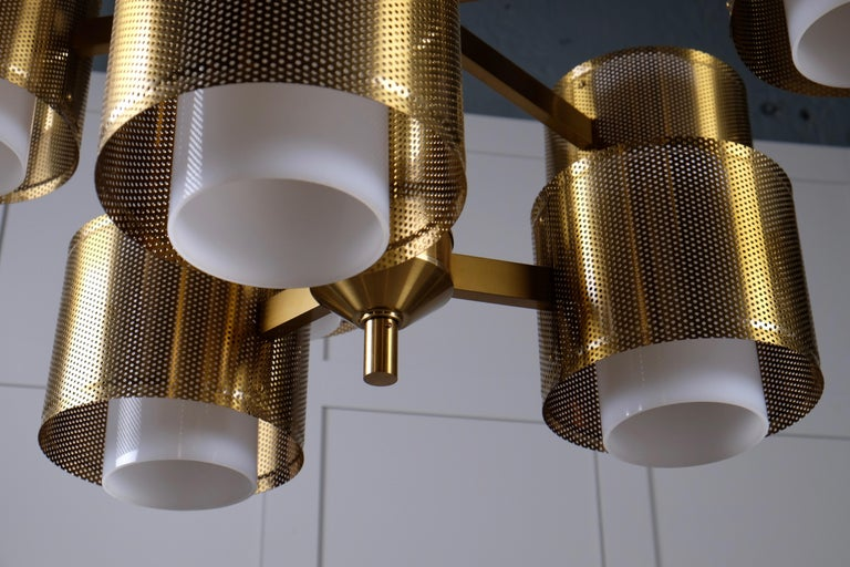 Set of 4 Brass Chandeliers by Holger Johansson, Sweden, 1960s For Sale 1